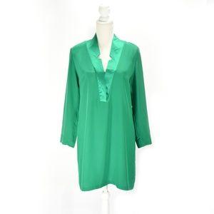 AMANDA UPRICHARD Emerald Silk Shift Dress